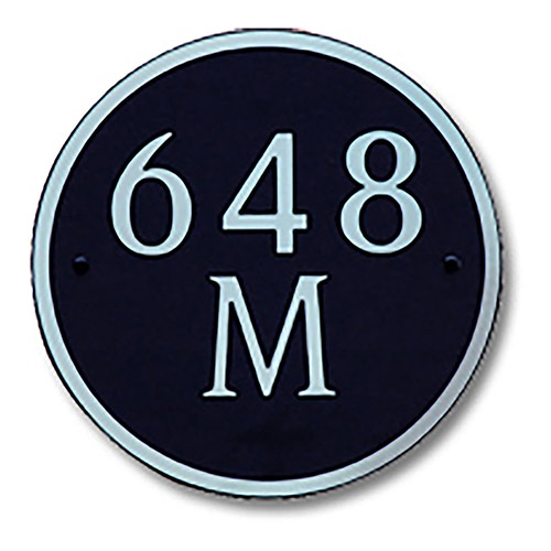 Dekorra 648H-M-NB - Medium Circle Shaped Nickel on Black Custom Address Plaque (Horizontal)
