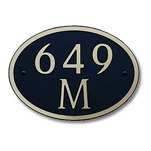 Dekorra 649H-L-GB - Large Oval Shaped Gold on Black Custom Address Plaque (Horizontal)