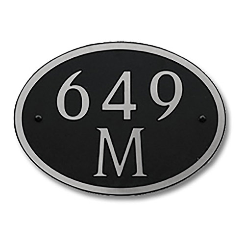 Dekorra 649H-L-NB - Large Oval Shaped Nickel on Black Custom Address Plaque (Horizontal)