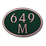 Dekorra 649H-M-CB - Medium Oval Shaped Copper on Black Custom Address Plaque (Horizontal)