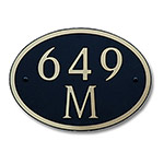 Dekorra 649H-M-GB - Medium Oval Shaped Gold on Black Custom Address Plaque (Horizontal)