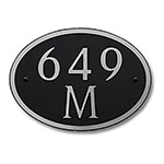 Dekorra 649H-M-NB - Medium Oval Shaped Nickel on Black Custom Address Plaque (Horizontal)