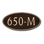 Dekorra 650H-L-GB - Large Oval Shaped Gold on Black Custom Address Plaque (Horizontal)
