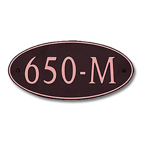 Dekorra 650H-M-CB - Medium Oval Shaped Copper on Black Custom Address Plaque (Horizontal)