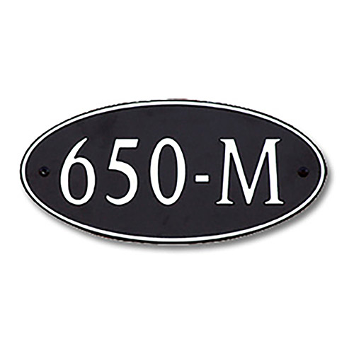 Dekorra 650H-M-NB - Medium Oval Shaped Nickel on Black Custom Address Plaque (Horizontal)