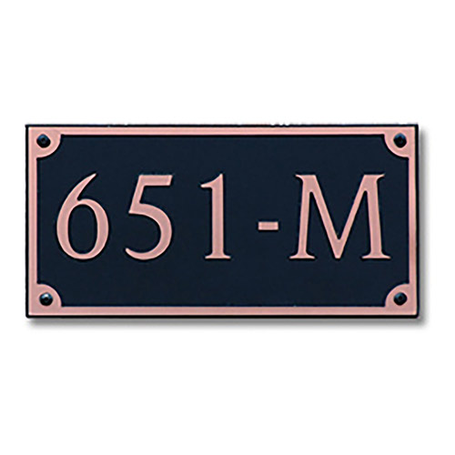 Dekorra 651H-M-CB - Medium Rectangle Shaped Copper on Black Custom Address Plaque (Horizontal)