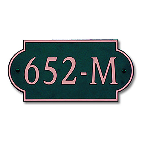 Dekorra 652H-M-CB - Medium Designer Shaped Copper on Black Custom Address Plaque (Horizontal)