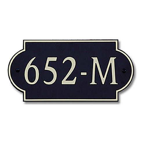 Dekorra 652H-M-GB - Medium Designer Shaped Gold on Black Custom Address Plaque (Horizontal)