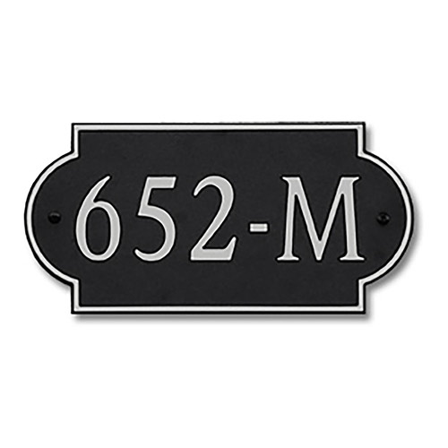 Dekorra 652H-M-NB - Medium Designer Shaped Nickel on Black Custom Address Plaque (Horizontal)