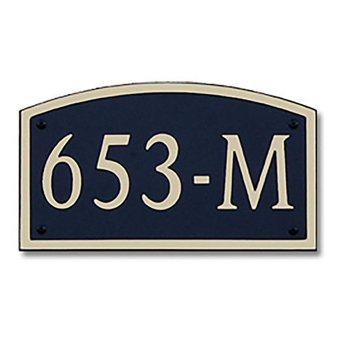 Dekorra 653H-L-GB - Large Designer Shaped Gold on Black Custom Address Plaque (Horizontal)