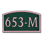 Dekorra 653H-M-CB - Medium Designer Shaped Copper on Black Custom Address Plaque (Horizontal)