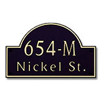 Dekorra 654H-M-GB - Medium Designer Shaped Gold on Black Custom Address Plaque (Horizontal)