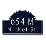 Dekorra 654H-M-NB - Medium Designer Shaped Nickel on Black Custom Address Plaque (Horizontal)