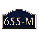 Dekorra 655H-M-CB - Medium Designer Shaped Copper on Black Custom Address Plaque (Horizontal)