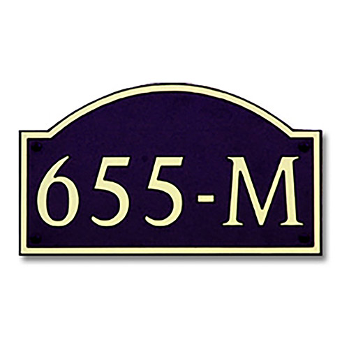 Dekorra 655H-M-GB - Medium Designer Shaped Gold on Black Custom Address Plaque (Horizontal)