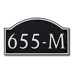 Dekorra 655H-M-NB - Medium Designer Shaped Nickel on Black Custom Address Plaque (Horizontal)