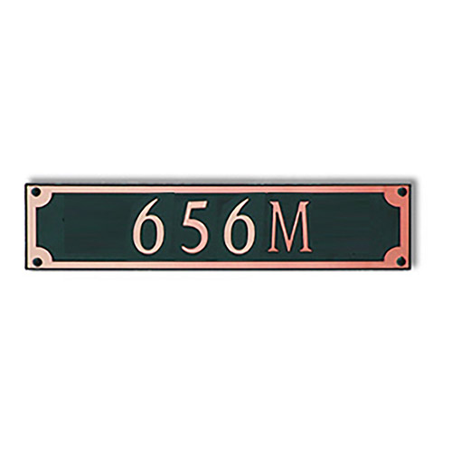 Dekorra 656H-M-CB - Medium Rectangle Shaped Copper on Black Custom Address Plaque (Horizontal)