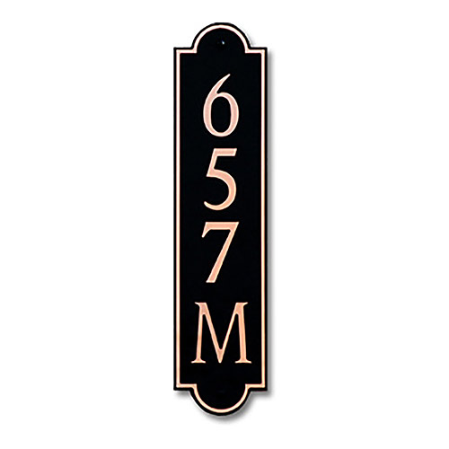 Dekorra 657V-M-CB - Medium Designer Shaped Copper on Black Custom Address Plaque (Vertical)