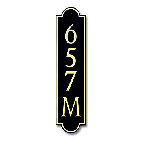 Dekorra 657V-M-GB - Medium Designer Shaped Gold on Black Custom Address Plaque (Vertical)