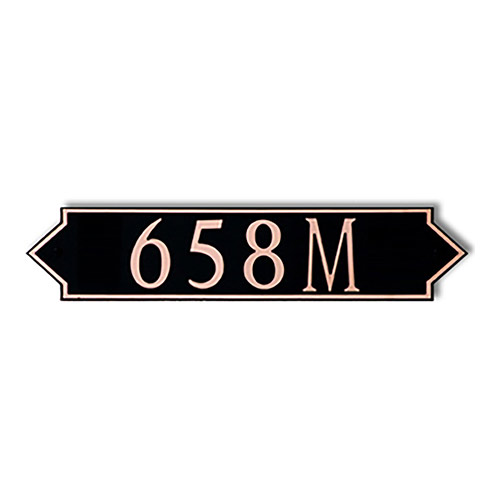 Dekorra 658H-M-CB - Medium Designer Shaped Copper on Black Custom Address Plaque (Horizontal)
