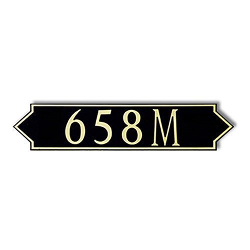 Dekorra 658H-M-GB - Medium Designer Shaped Gold on Black Custom Address Plaque (Horizontal)