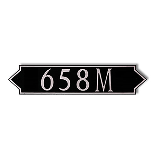 Dekorra 658H-M-NB - Medium Designer Shaped Nickel on Black Custom Address Plaque (Horizontal)