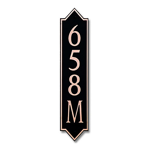 Dekorra 658V-M-CB - Medium Designer Shaped Copper on Black Custom Address Plaque (Vertical)