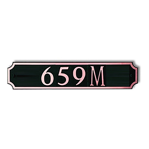 Dekorra 659H-M-CB - Medium Designer Shaped Copper on Black Custom Address Plaque (Horizontal)