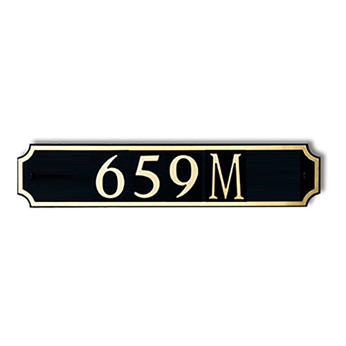 Dekorra 659H-M-GB - Medium Designer Shaped Gold on Black Custom Address Plaque (Horizontal)