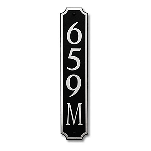Dekorra 659V-L-NB - Large Designer Shaped Nickel on Black Custom Address Plaque (Vertical)