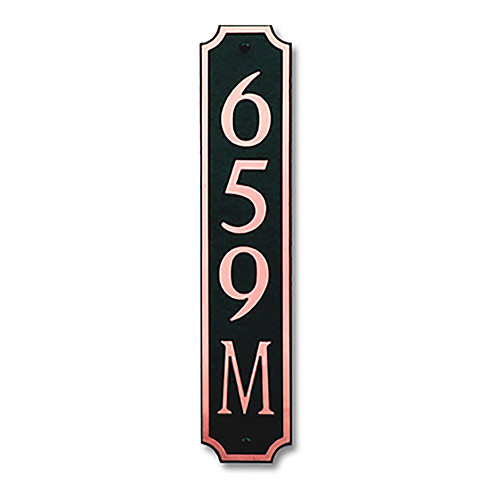 Dekorra 659V-M-CB - Medium Designer Shaped Copper on Black Custom Address Plaque (Vertical)