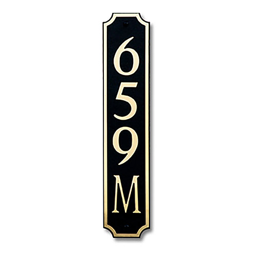 Dekorra 659V-M-GB - Medium Designer Shaped Gold on Black Custom Address Plaque (Vertical)