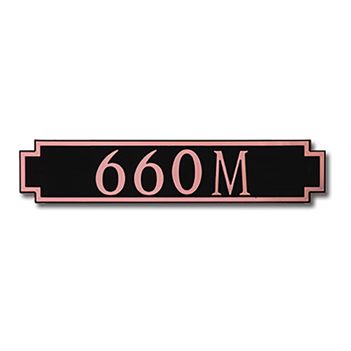 Dekorra 660H-M-CB - Medium Designer Shaped Copper on Black Custom Address Plaque (Horizontal)