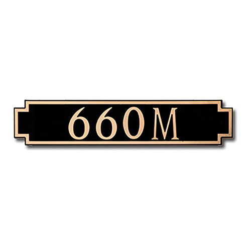 Dekorra 660H-M-GB - Medium Designer Shaped Gold on Black Custom Address Plaque (Horizontal)