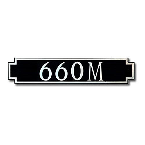 Dekorra 660H-M-NB - Medium Designer Shaped Nickel on Black Custom Address Plaque (Horizontal)