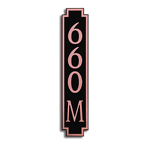Dekorra 660V-M-CB - Medium Designer Shaped Copper on Black Custom Address Plaque (Horizontal)