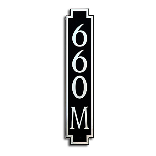 Dekorra 660V-M-NB - Medium Designer Shaped Nickel on Black Custom Address Plaque (Horizontal)