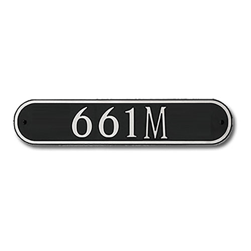 Dekorra 661H-L-CB - Large Oval Shaped Nickel on Black Custom Address Plaque (Horizontal)