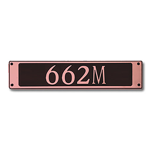 Dekorra 662H-M-CB - Medium Rectangle Shaped Copper on Black Custom Address Plaque (Horizontal)