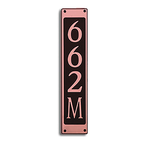 Dekorra 662V-M-CB - Medium Rectangle Shaped Copper on Black Custom Address Plaque (Vertical)
