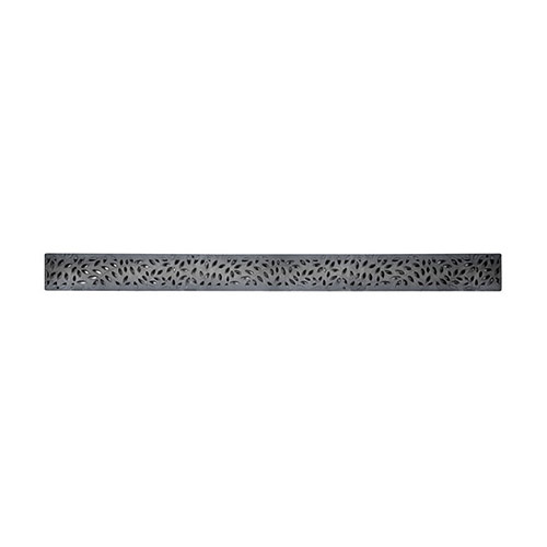 "NDS-554GY Grey 36"" plastic Mini Channel drainage grate with botanical pattern."