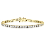 Solid Yellow Gold-Tennis Round brilliant stone bracelet