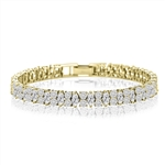 Diamond Essence Designer Bracelet With Marquise And Round Stones, 14 Cts.T.W. In 14K Solid Yellow Gold.