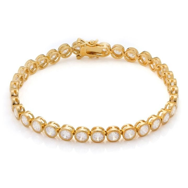 Bezel set diamond bracelet in solid gold.