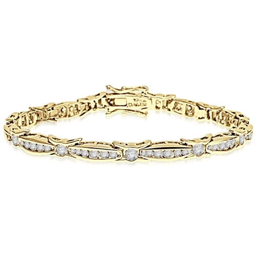 6.75 inch bracelet with unusual link setting in 14K Solid Gold