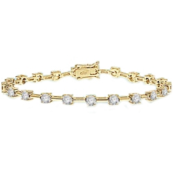 Charming bracelet to enhance your wrist play! 0.25 cts. Round Diamond Essence stones set apart with solid chain links. 3.0 Cts. T.W. set in 14K Solid Yellow Gold.