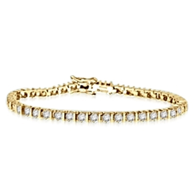 Bar design & 50 Diamond bracelet in Solid Yellow Gold