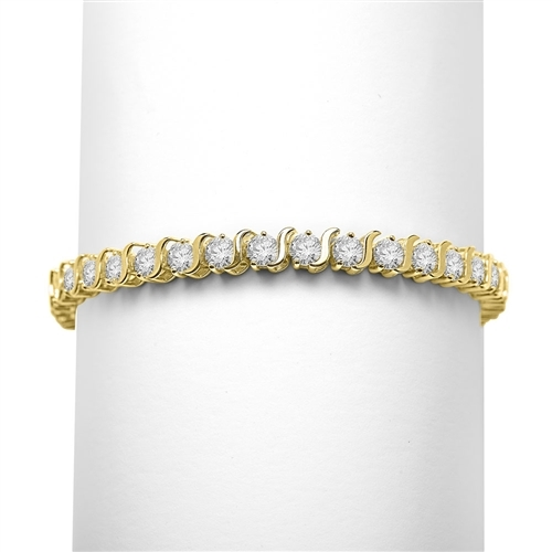 "7"" long S-Curves Bracelet with Round Brilliant Diamond Essence Stones, 7.50 Cts. T.W. in 14K Solid Yellow Gold."