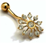 Diamond Essence 14K Solid Yellow Gold Belly Button with Round Brilliant stones, 0.66 Ct. T.W. And Screw On Ball.