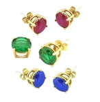 Solid Gold earring in Sapphire Ruby Emerald